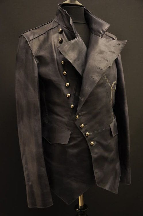 Details about LEATHER STEAMPUNK ROCK MILITARY MENS JACKET UNIQUE