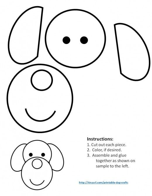 Printable Dog Patterns With Simple Shapes For Kids Crafts Shapes For Kids Puppy Crafts Printable Crafts