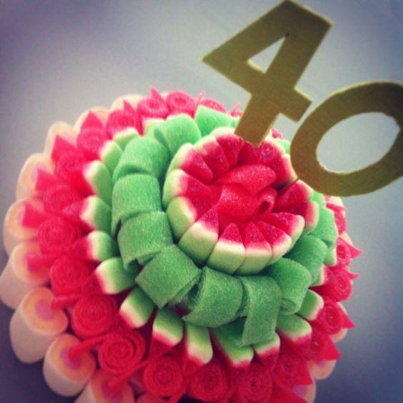 Tarta de Chuches de cumpleaños con lenguas y sandías