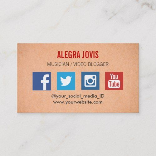 Social Media Musician You Tube Business Card Zazzle Com Social Media Custom Business Cards Modern Business Cards