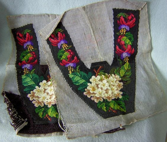 Stitched but not made up. Was it the cost for the shoe maker?   19thC Victorian Needlepoint Slippers by Neatcurios on Etsy
