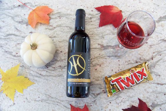Halloween Pairings! C'est de L'Or (our port inspired wine) and Twix!