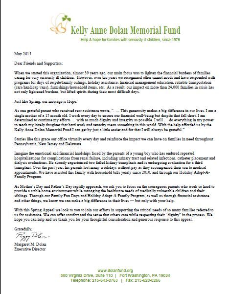 Spring 2015 Appeal letter KADMF Appeal letters Pinterest - appeal letter