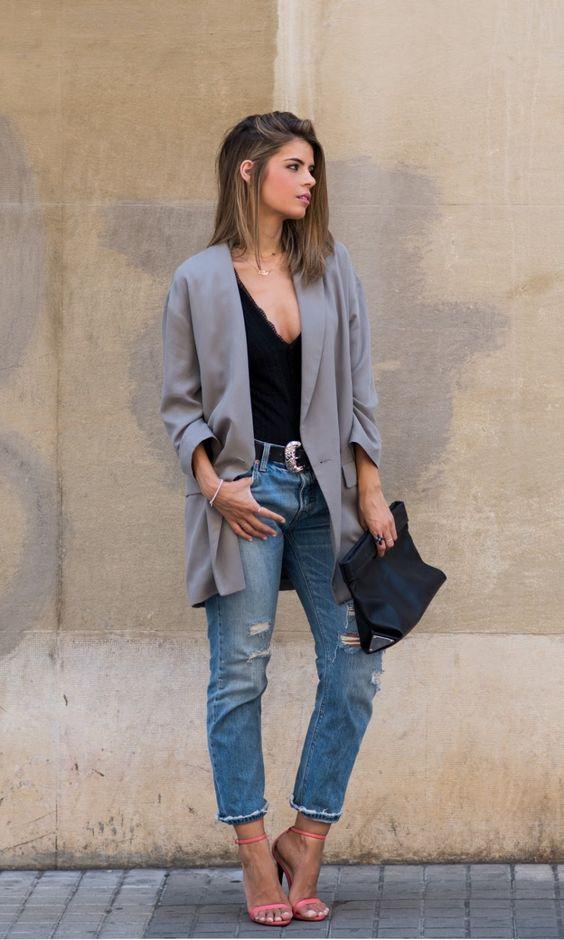 estilo casual com blazer cinza