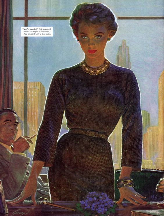 """Standing woman at desk, seated man looking on (illus. for Saturday Evening Post), 1956. Edwin Georgi...She looks like quite the career girl! I'm reminded of the film """"The Best of Everything"""" with Joan Crawford."""