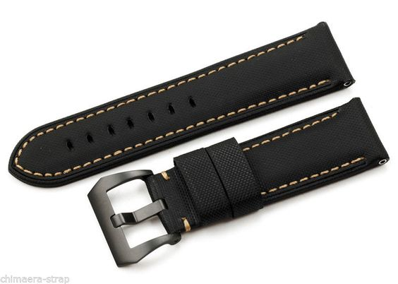 24mm Genuine Black Kevlar Leather 3 Stitch Mens Watch Strap Band for PAM111 HQ