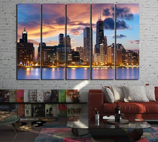 Chicago Wall Art Canvas Set In 2020 Chicago Wall Art Wall Art Canvas Wall Art