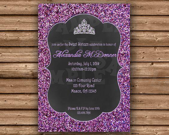 15 Anos Flats: Tiara Purple Glitter Sweet 16 Invitations