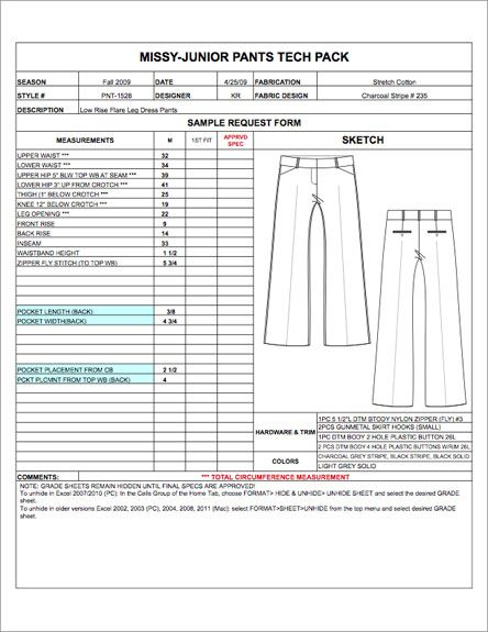 Missy\/Junior Spec Sheet Sample - Womens, Mens, Childrens \ Plus - blank order form