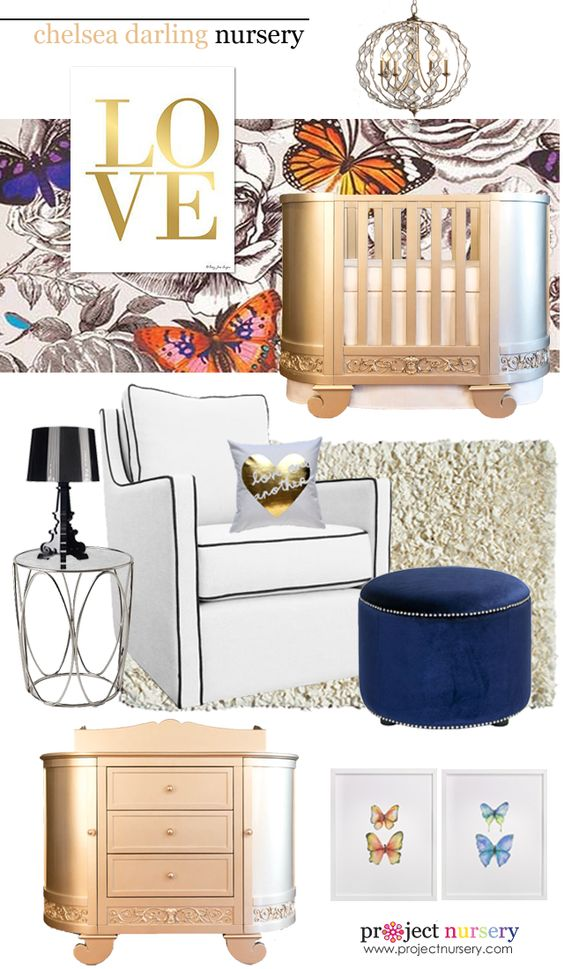Inspired by @Bratt Decor's Chelsea Darling line, here are some of our favorites for a glam nursery! #nursery #glam #brattdecor #designboard