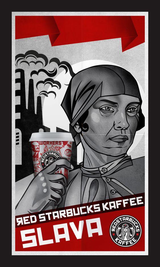 redstarbucks kaffee in soviet style by Zoki Cardula, via Behance