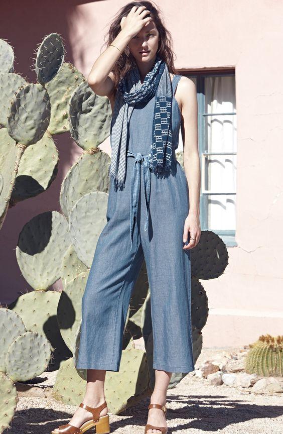 Madewell 'Muralist' Crop Chambray Jumpsuit