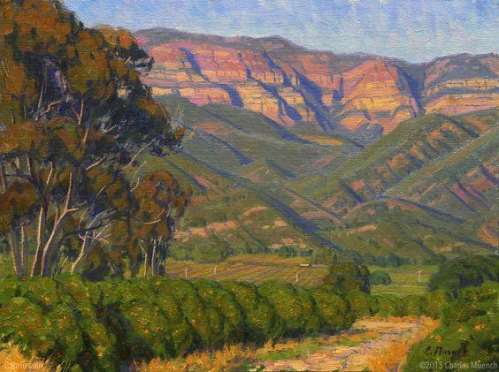 """Approaching Twilight—Ojai"" by Charles Muench; 12""x16""; Oil on Linen #CaliforniaArt #EnPleinAir #LandscapeArt"