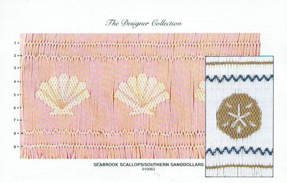 "Vintage Smocking Plate ""Seabrook Scallops / Southern Sanddollars"" by Laura Jenkins Thompson for Ellen McCarn (1987) by lavenderskye on Etsy"