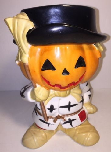 Vintage-Halloween-Relpo-Japan-Ceramic-JOL-Scarecrow-Figure-Planter-Vase