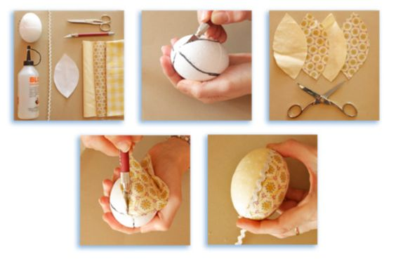Decorazioni per pasqua uova di polistirolo rivestite di for Tutorial fermaporta di stoffa