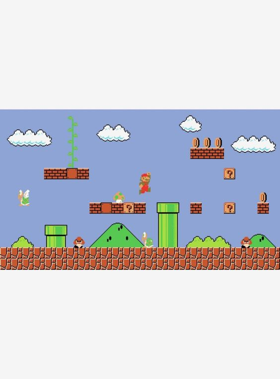Super Mario Retro Chair Rail Prepasted Mural