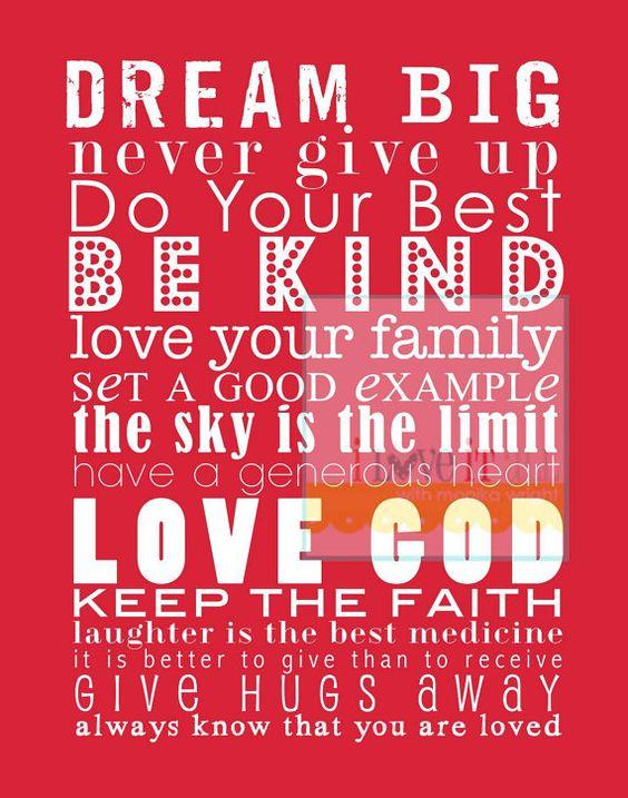 Encouraging Subway Art Poster Print Be Kind Faith by iloveitall