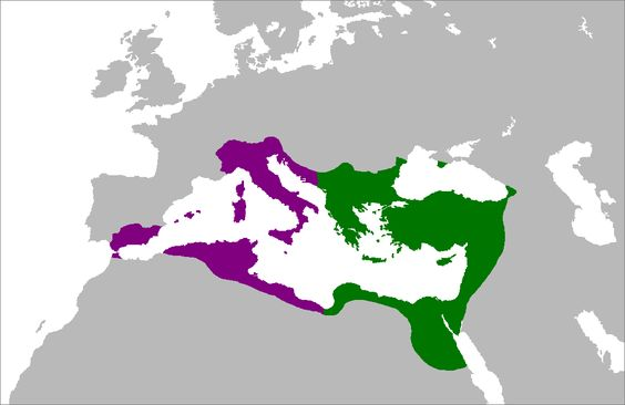 The Byzantine Empire at its greatest extent c. 550. Territories in violet were reconquered during reign of Justinian the Great      Western Roman Empire      Eastern Byzantine Empire
