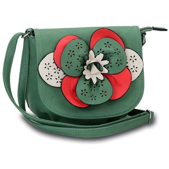 Small Crossbody Bag With Floral Detail In Green ❤ liked on Polyvore featuring bags, handbags, shoulder bags, green handbags, green shoulder bag, cross body, floral purse and floral cross body purse