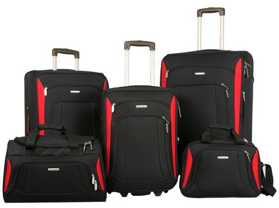 Merax Newest 5 Piece Softshell Deluxe Expandable Rolling Luggage ...