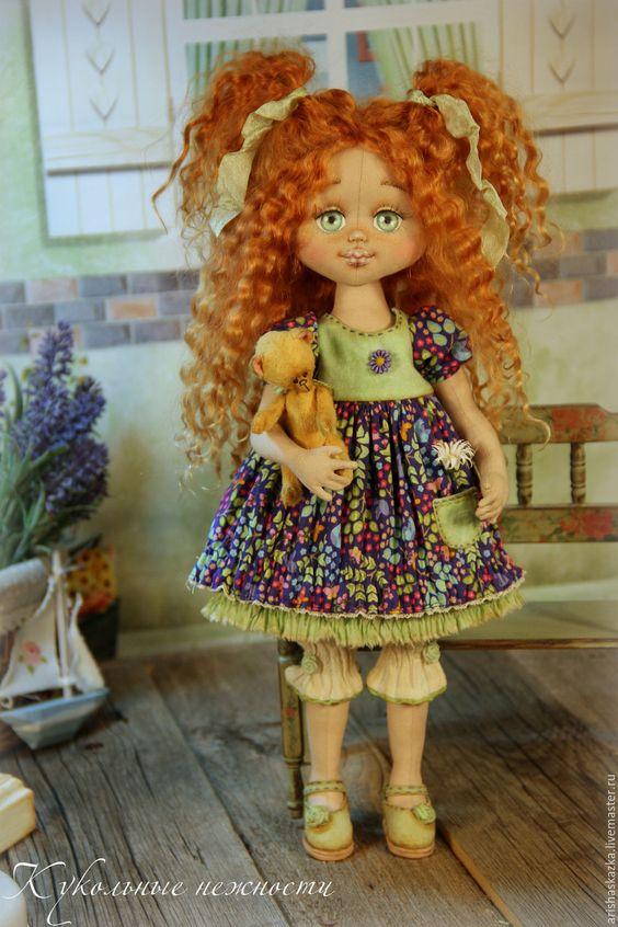 Купить Маргаритка . Кукла авторская . Кукла ручной работы . - рыжий, синий, зеленый, рыжая девочка: