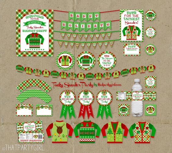Ugly Sweater Party Package  Holiday Decorations by thatpartygirl, $35.00