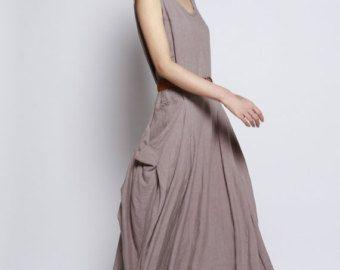 Witte Maxi Dress / Unique loszittende lange jurk door Sophiaclothing