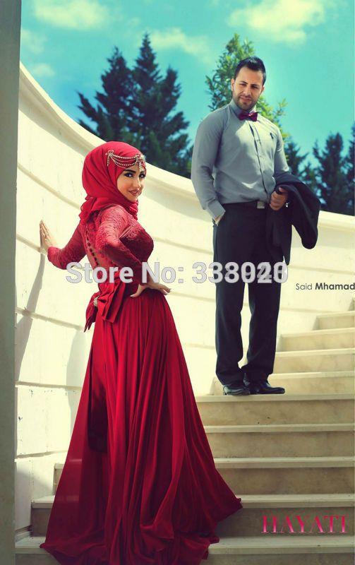 A linha de alta Collar manga comprida Lace vestido de baile vestido de Dubai Kaftan muçulmano Underscarf Hijab vestido em Vestidos de Noite de Casamentos e Eventos no AliExpress.com | Alibaba Group