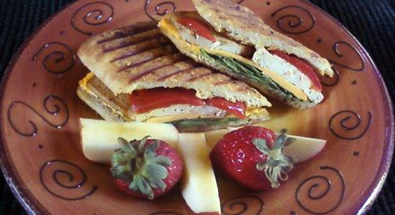 Tofu Panini with Roasted Peppers and Caramelized Onions #vegan