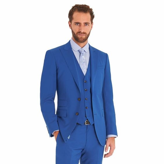 Costume home Royal Blue Tuxedo Wedding Suits With Pants Mens Suit