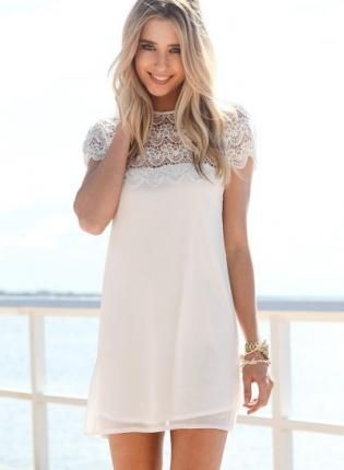 White Short Sleeve Dress with Scalloped Lace Hemline, Dress, lace ...