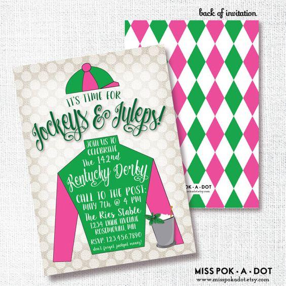 JOCKEYS & JULEPS Kentucky Derby party invitation horse racing party mint julep jockey silk pink and green horse birthday invite