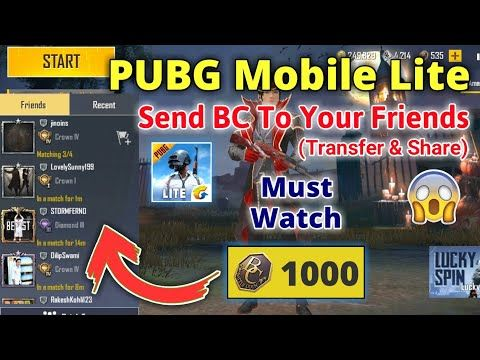 How To Send Bc In Pubg Mobile Lite Pubg Mobile Lite Me Bc Send Kaise Kare Share Transfer Bc Youtube Download Hacks Kare Thank You Friend