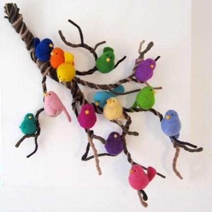 a lambswool branch of needlefelt birds