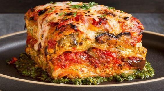 Vegan Grilled Garden Vegetable Lasagna With Puttanesca Sauce and herb ricotta. Yum!