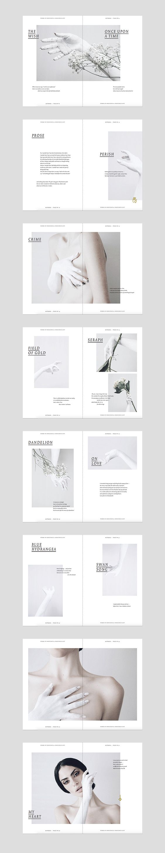Like the use of white space and type over image ASTRAEA on Editorial Design Served