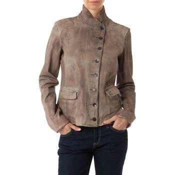 Veste en cuir effet vieilli - gris - MCS - Ref: 1460919 | Brandalley