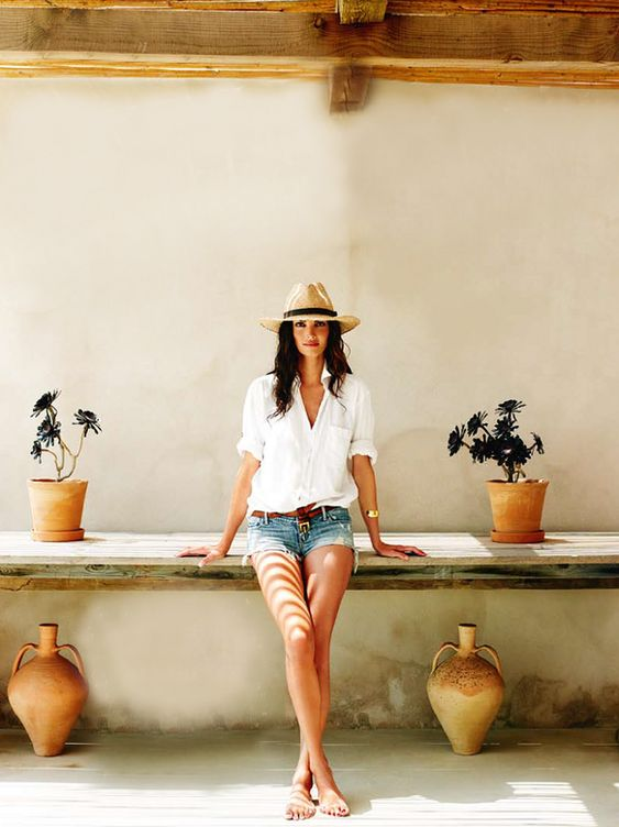 Cut off denim shorts, white button down, fedora: