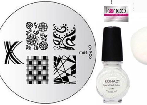 Konad-Stamping-Nail-Art-Image-Plate-M64-White-Polish