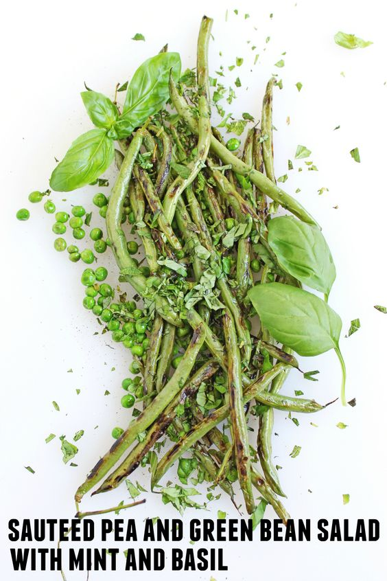 Sautéed pea and green bean salad recipe! Topped with fresh mint and ...