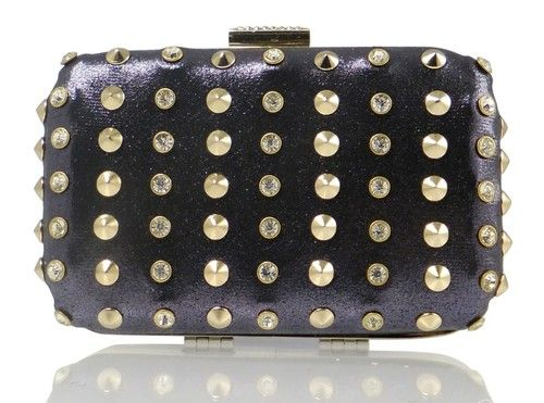 A clutch bag in rows of diamond studs and plain yet bold studs, making the clutch bag making a little bit more special than any other bag, this bag is simple and big enough to place in some essential items whilst you're in fashion. This bag varies in different colours.