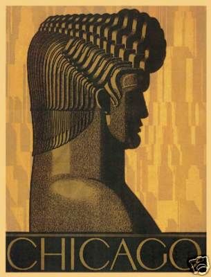 chicago deco architecture brochure art poster http www. Black Bedroom Furniture Sets. Home Design Ideas