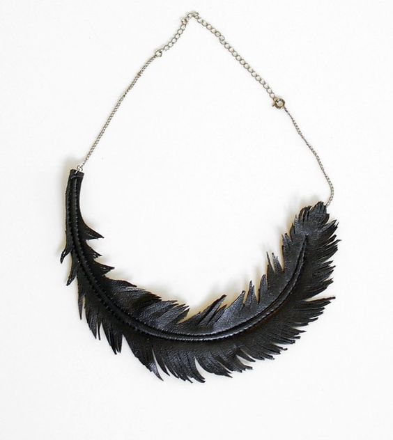 Beautiful Leather Feather Necklace via Etsy