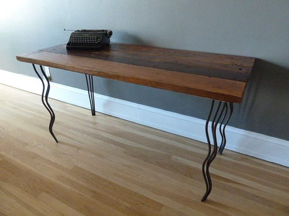 Reclaimed Wood Desk with Curvy Hairpin Legs