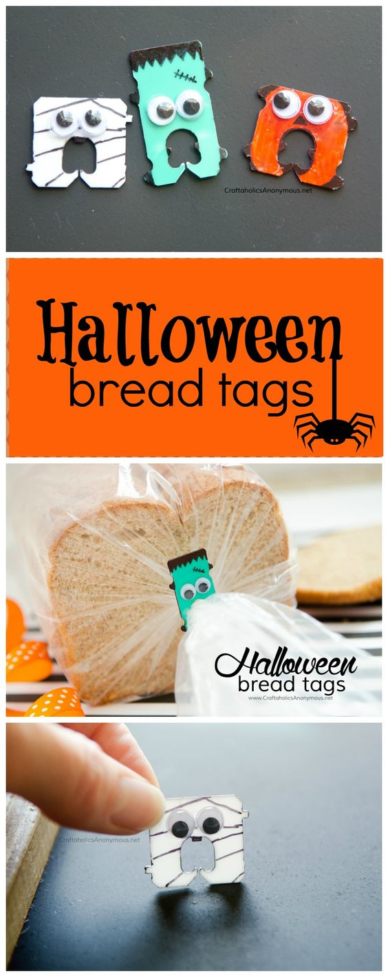Simple Halloween craft for kids + great way to reuse bread tab!Halloween kid craft idea:
