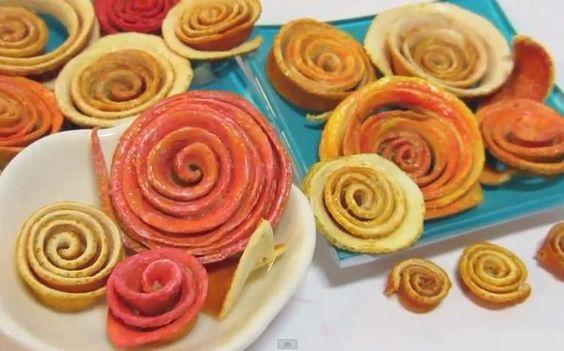 Flores hechas con cascara de naranja. Flowers made with orange peel