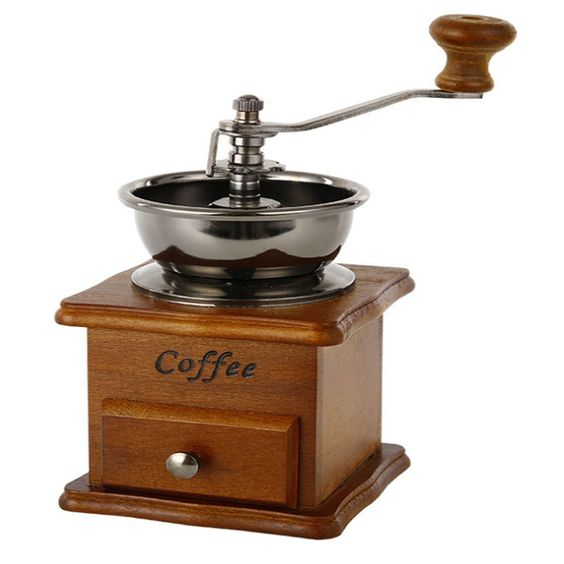 AMOAR-PERFREE Manual Burr Coffee Bean Grinder with Wood Drawer - Grinds Coffee Beans *** Check this awesome product by going to the link at the image.