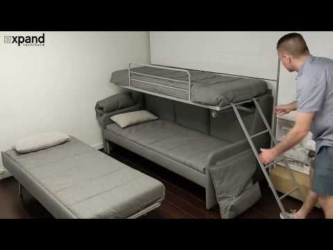 Italian Made Transforming Triple Twin Bunk Bed Couch For Sale