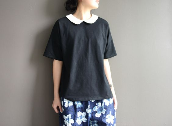 Kurzarmblusen - Peter Pan Collar Shirt Cotton Loose Tunics BLACK - ein…